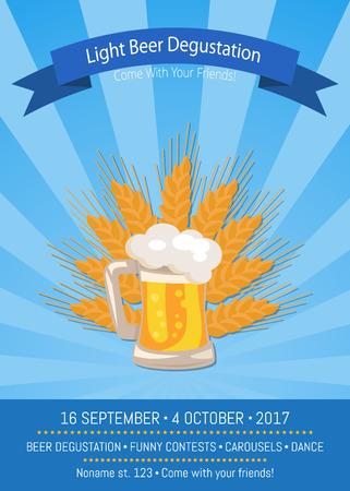 Light Beer Degustation 2017 Vector Illustration Illustration