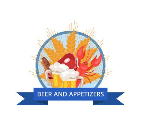 ビールと前菜ポスター ベクトル Illusrartion