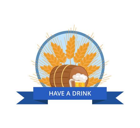 Wooden Barrel with Beverage and Mug of Beer Vector Illustration