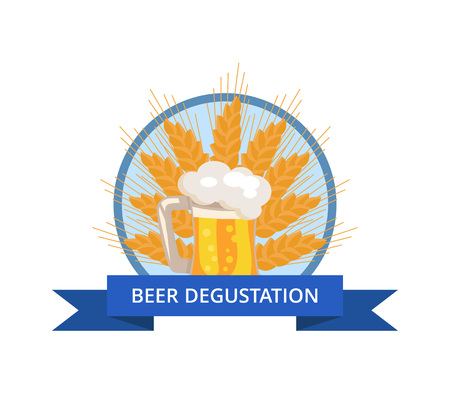 Beer Degustation Logo with Traditional Drink Foam