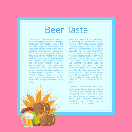Beer Taste Poster with Barrels, Food and Drink