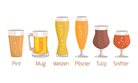 Pint and Mug, Weizen Vector Illustration on White Illustration