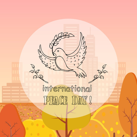 Dove of Peace With Twig Vector Illustration Autumn