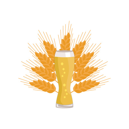 Weizen Glass of Beer Isolated on White Background Illustration