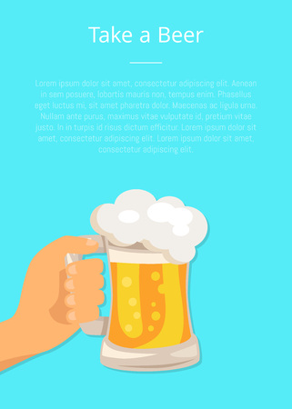 Take Beer Poster with Hand Hold Traditional Glass