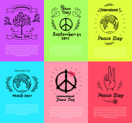 Set of Posters for Peace Day Vector Illustration