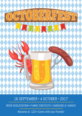 Octoberfest Poster Depicting Beer Mug and Food Stock Photo