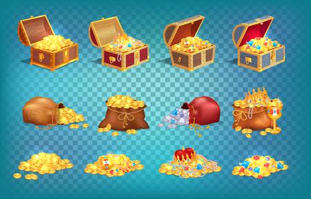 Gouden schatten in oude houten kist en stoffen tas
