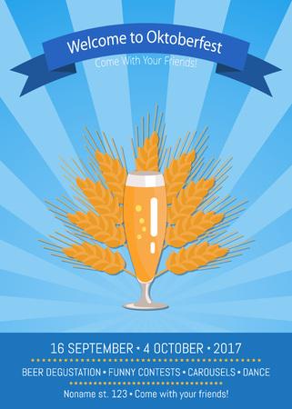 Welcome to Oktoberfest Poster Vector Illustration Illustration