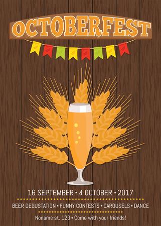 Pilsner Glass of Beer Isolated on White Background Illustration
