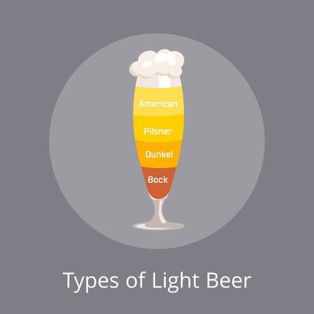軽めのビール アメリカとドゥンケル、ピルスナー タイプ  イラスト・ベクター素材