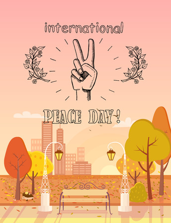 International Peace Day Emblem Autumn Theme Illustration