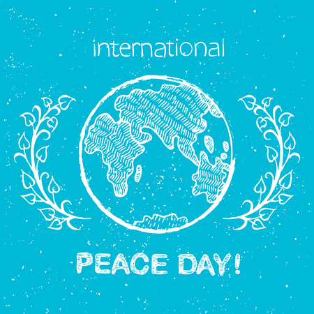 Peace Day International Holiday Poster with Earth  イラスト・ベクター素材