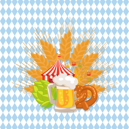 Food Set and Beer Vector Illustration on White