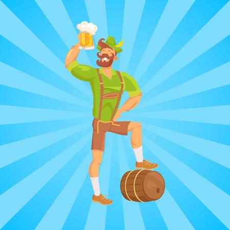 Bearded Man Drinking Beer Vector Illustration