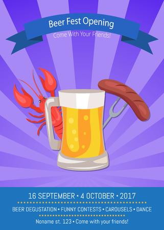 ビール祭オープニング ポスター ベクトル イラスト。  イラスト・ベクター素材