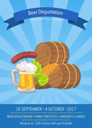 Beer Degustation 2017 on Vector Illustration. Иллюстрация