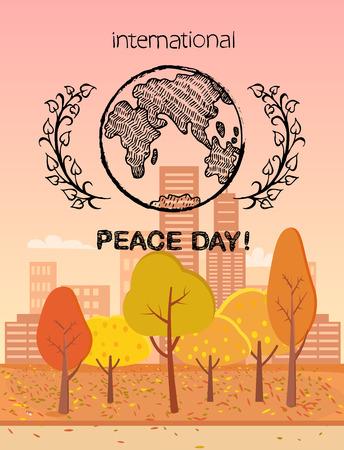 International Peace Day Colorful Logo with Earth Ilustração