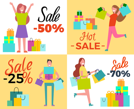 Hot Sale 50 Shopping Set Vector Illustration