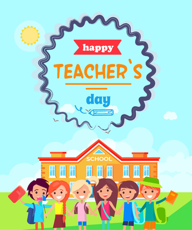 Happy Teacher s Day Wish Colorful Postcard