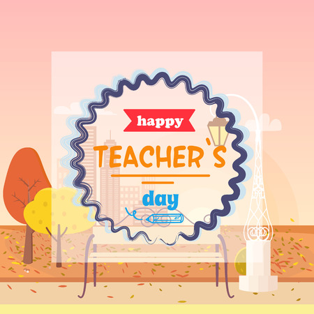 Happy Teachers Day and Fall Vector Illustration