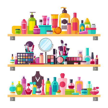 Bilden Sie Ikonen einschließlich verschiedene Wesensmerkmale, Sprays und Bürsten mit Paletten, Körpercremes und Parfümvektorillustration auf Weiß Standard-Bild - 90305855
