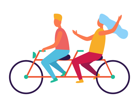 Couple riding on tandem or twin bicycle isolated on white background. Happy family spend time together, lady in blue shawl on head Ilustracja