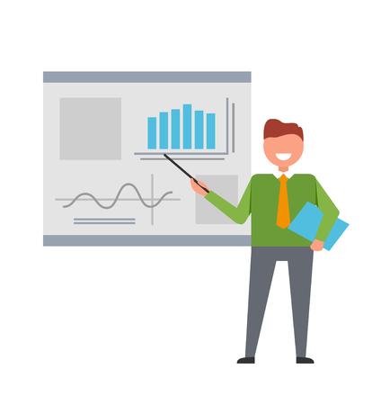 ビジネスマン企業計画に取り組んで彼の腕のベクトル図に彼を保持するポインターでホワイト ボードに図と計画を示す  イラスト・ベクター素材