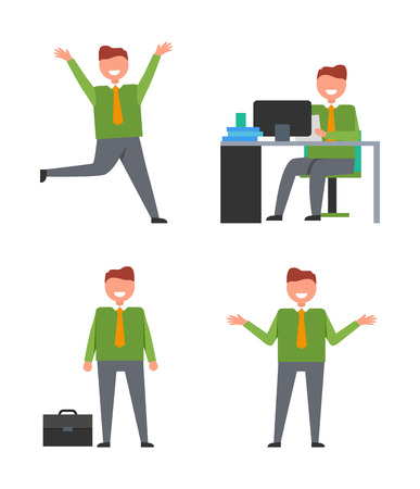Set of four icons with office happy worker on his workplace in front of monitor or just standing with case. Vector illustration islated on white background