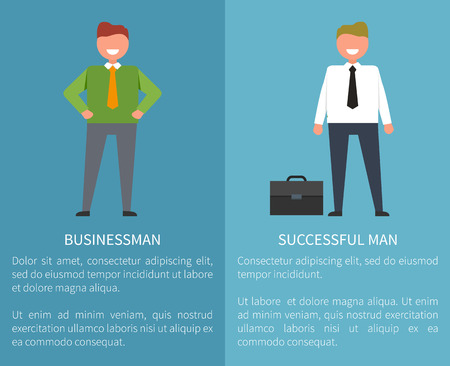 Businessman and successful man, icons of male dressed formal, with title and text sample in two columns vector illustration isolated on blue