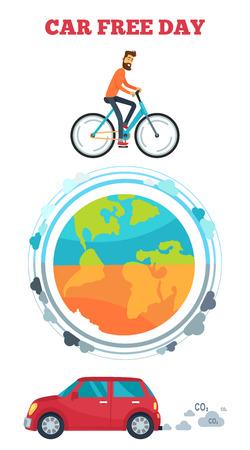 自転車、大気と地球と車に乗る男と車無料日のロゴは排気ガスです。白い背景の上の環境に優しいシンボルのベクトル イラスト