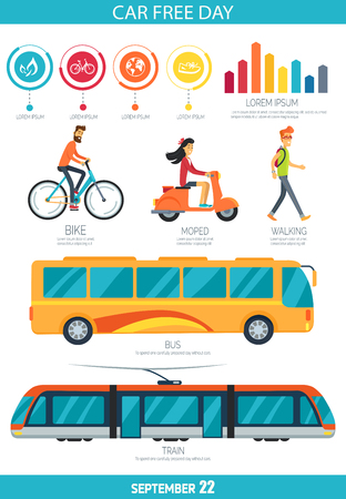 Car Free Day September poster with different types of city transport like bike, yellow bus, moped and tram. Vector contains statistics and bar graph