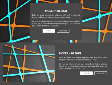 기하학적 패턴, 텍스트 샘플 및 그것 아래 두 개의 버튼을 가진 웹 페이지, 현대 디자인, 벡터 일러스트 레이 션 검정에 격리 된 집합