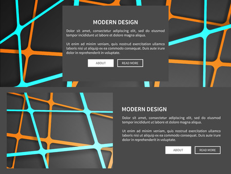 Modern design with geometric pattern, web pages with text sample and two buttons below it, set of two, vector illustration isolated on black