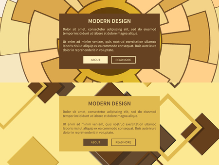 Modern design web-site pages with circles and mosaic, yellow and brown colors with buttons, headline and text sample vector illustration 向量圖像