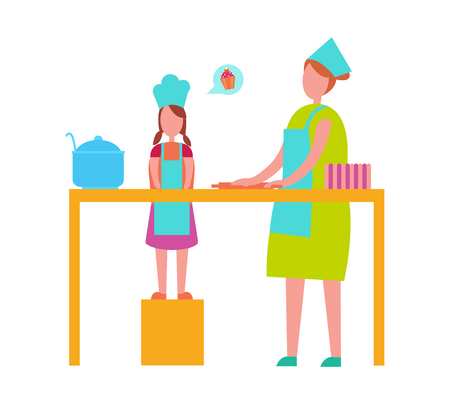 Mother and young daughter in toque blanches and aprons cooking isolated vector illustration. Loving parent and teenage child preparing food together