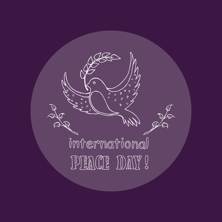 Dove with twig as a symbol of International Peace Day. Vector illustration of bird with olive and two sprigs on both sides of the pigeon