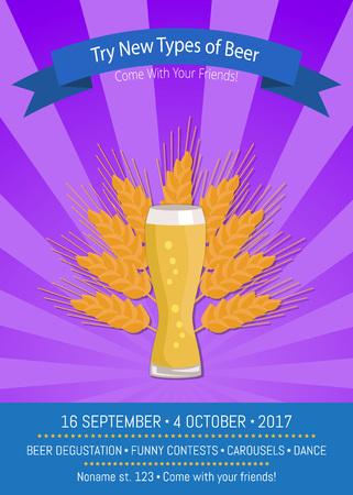 Probeer nieuwe soorten bier Kom met je vrienden naar oktoberfest, promoposter van weizen en oor van gele tarwe vectorillustratie op paars