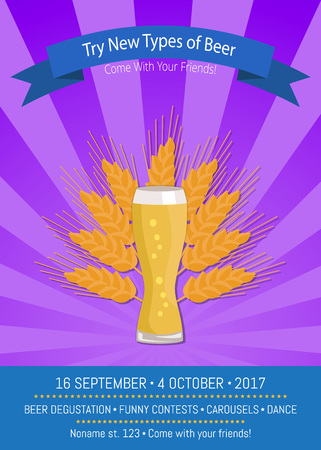 Try new types of beer Come with your friends to oktoberfest, promo poster of weizen and ear of yellow wheat vector illustration on purple