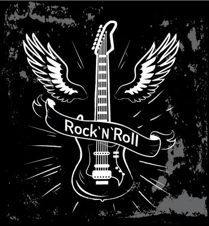 リボンの背後にある、翼を持つエレクトリック ・ ギターのイメージで書かれたロックン ロールは飾ら黒地分離線ベクトル イラスト画像