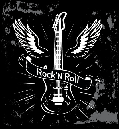 Rock n roll written in ribbon, image of electric guitar with wings behind it, decorated picture with lines vector illustration isolated on black