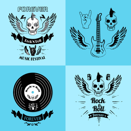 Rock n roll forever, music festival, set of posters representing guitar with wings, skull and vinyl vector illustration isolated on blue