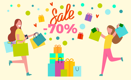 Sale -70 shopping women full of positive emotions represented with lots of bags vector illustration isolated on yellow background