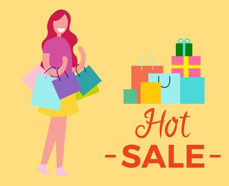 Hete verkoopvrouw die en zich met zakken in haar handen naast de tekst en het beeld van giften en pakketten vectordieillustratie bevinden glimlachen op geel wordt geïsoleerd