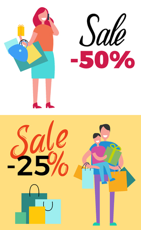 -50 sale and -25 sale propositions. Vector illustrations contain male holding shopping bags in one hand and child in another and female with purchases Illustration