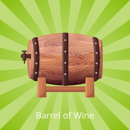 Barrel of wine, big icon of wooden cask with alcohol, white title at bottom of picture vector illustration isolated on green striped background Illustration