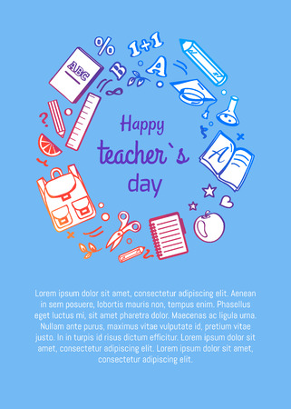 Happy teachers day poster with icons silhouettes of rucksack, open books, Abc textbooks, stationary equipment as rulers and pen surround inscription Banque d'images - 90308298