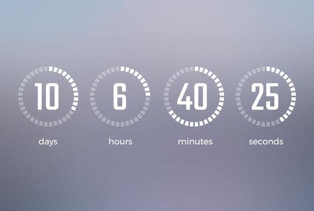 일 시간 분 분 초, 어떤 시간을 보여주는 타이머의 아이콘은 회색에 고립 된 특정 이벤트 벡터 일러스트의 시작으로 남습니다.