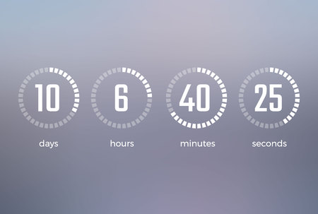Days hours minutes seconds, icon of timer showing what time is left to beginning of certain event vector illustration isolated on grey Иллюстрация