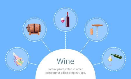 Wine headline and sample text in rounded frame at bottom of picture with icons of France map, barrel and bottle, corkscrew vector illustration